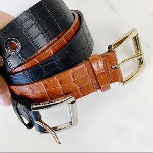 Michael Kors Brown Black Belt Reptile Bundle Med